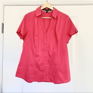 Express Essential Stretch Pink Button Up Blouse L